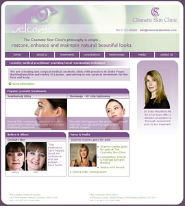 Cosmetic Skin Clinic homepage screenshot