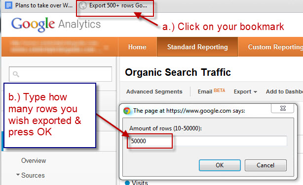 Step 2 - Export more than 500 rows from Google Analytics