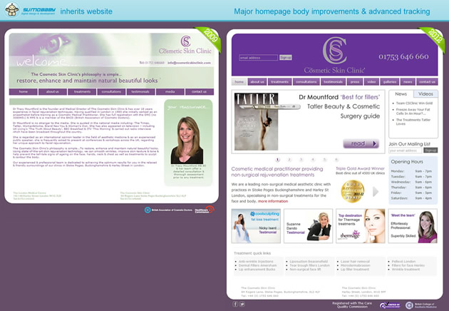 The Cosmetic Skin Clinic 2009-2012 homepage comparison