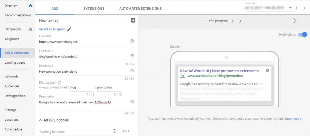 New AdWords promotions extension UI