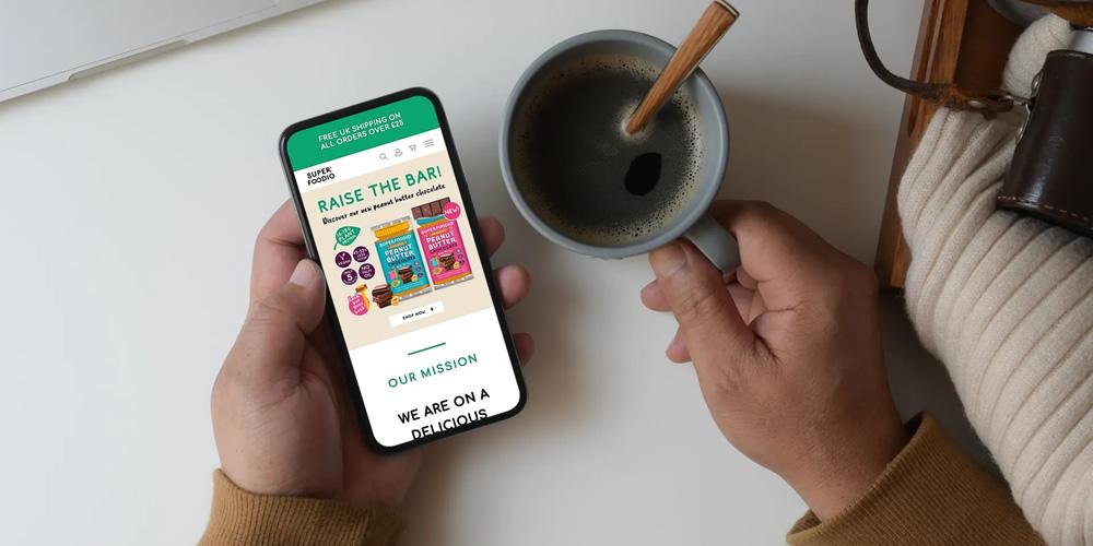 Superfoodio website on smartphone